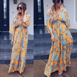 Golden Gaze Kimono Maxi Dress Vici